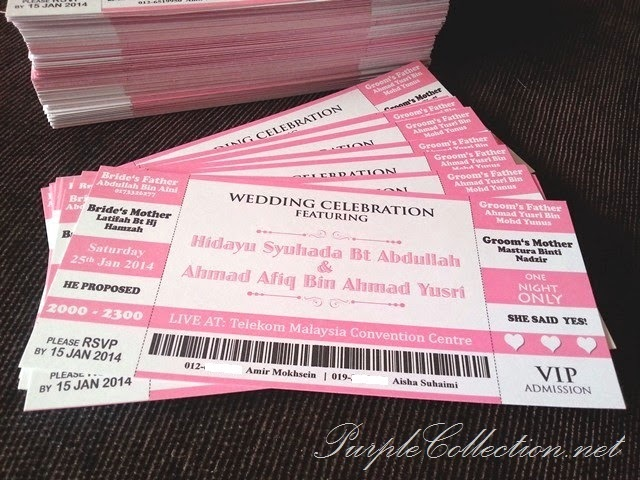 concert ticket, theme, wedding, marriage, pink, white, pearl, kuala lumpur, print, selangor, malaysia, jb, singapore, johor bahru, penang, perak, pahang, kuantan, cetak, kad kahwin murah, art card 260g, handmade, hand craft, unique, special, personalized, personalised, modern, 2014, telekom malaysia convention centre