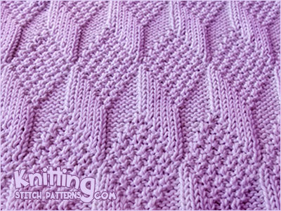 Reversible Knitting * - Moss Diamond and Lozenge stich. Knitting pattern the same on both sides. For knitters with a bit of experience
