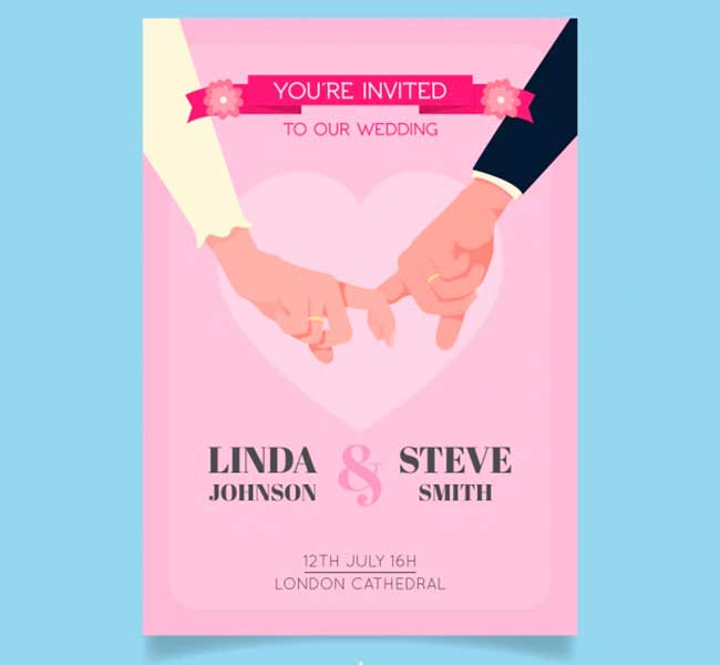 Wedding invitation with newlyweds hands download