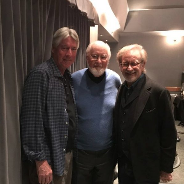 John Williams visits Alan Silvestri and Steven Spielberg