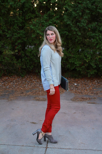 red jeans, striped back top, suede booties
