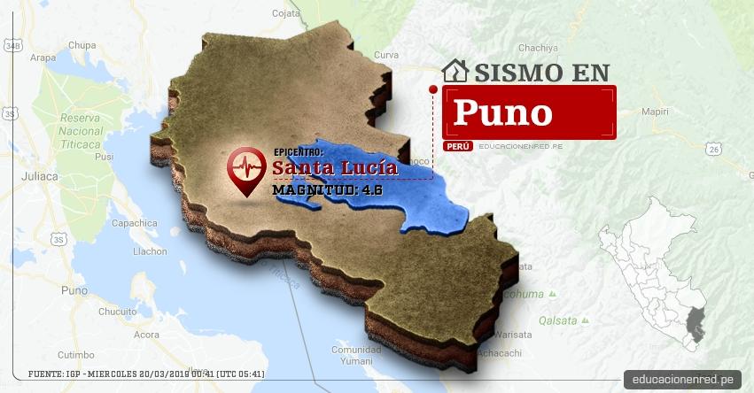 Temblor en Puno de Magnitud 4.6 (Hoy Miércoles 20 Marzo 2019) Sismo Epicentro Santa Lucía - Lampa - IGP - www.igp.gob.pe