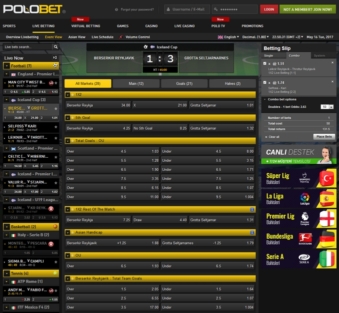 Polobet Live Betting Screen