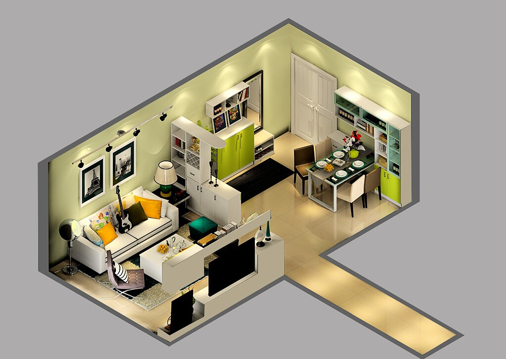 Sky-view-of-the-French-house-interior 35 Sky View 4D American House Plan Styles Interior