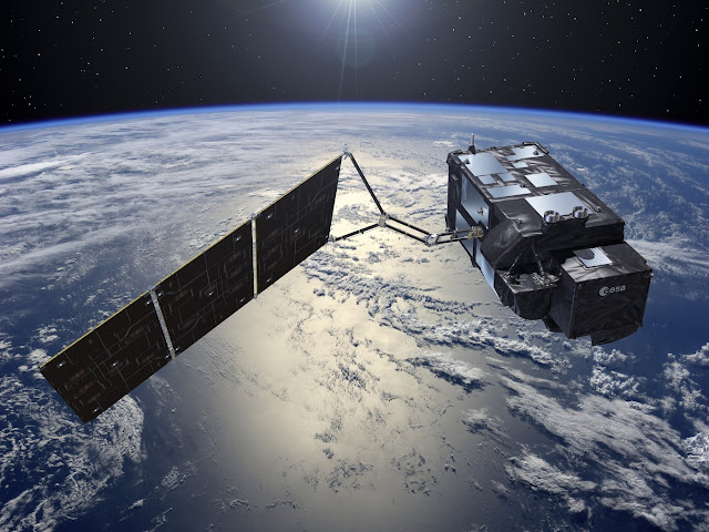 Artist's rendering of the Sentinel-3A satellite in space. Image Credit: ESA–Pierre Carril