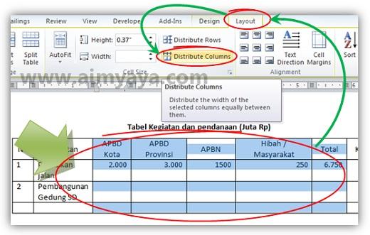Cara Membuat Kolom/Baris Tabel Memiliki Ukuran Sama di Ms ...