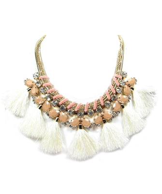 Boho Hippie Gypsy Tassel Statement Necklace - $24.00 - Affordable Springtime Bohemian Fashion {Pastel Bohemian, Springtime Boho Fashion and Accessories, Bohemian Easter}