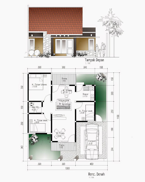 Contoh Denah Rumah Minimalis Sederhana Denah-Rumah-Type-45-Minimalis-