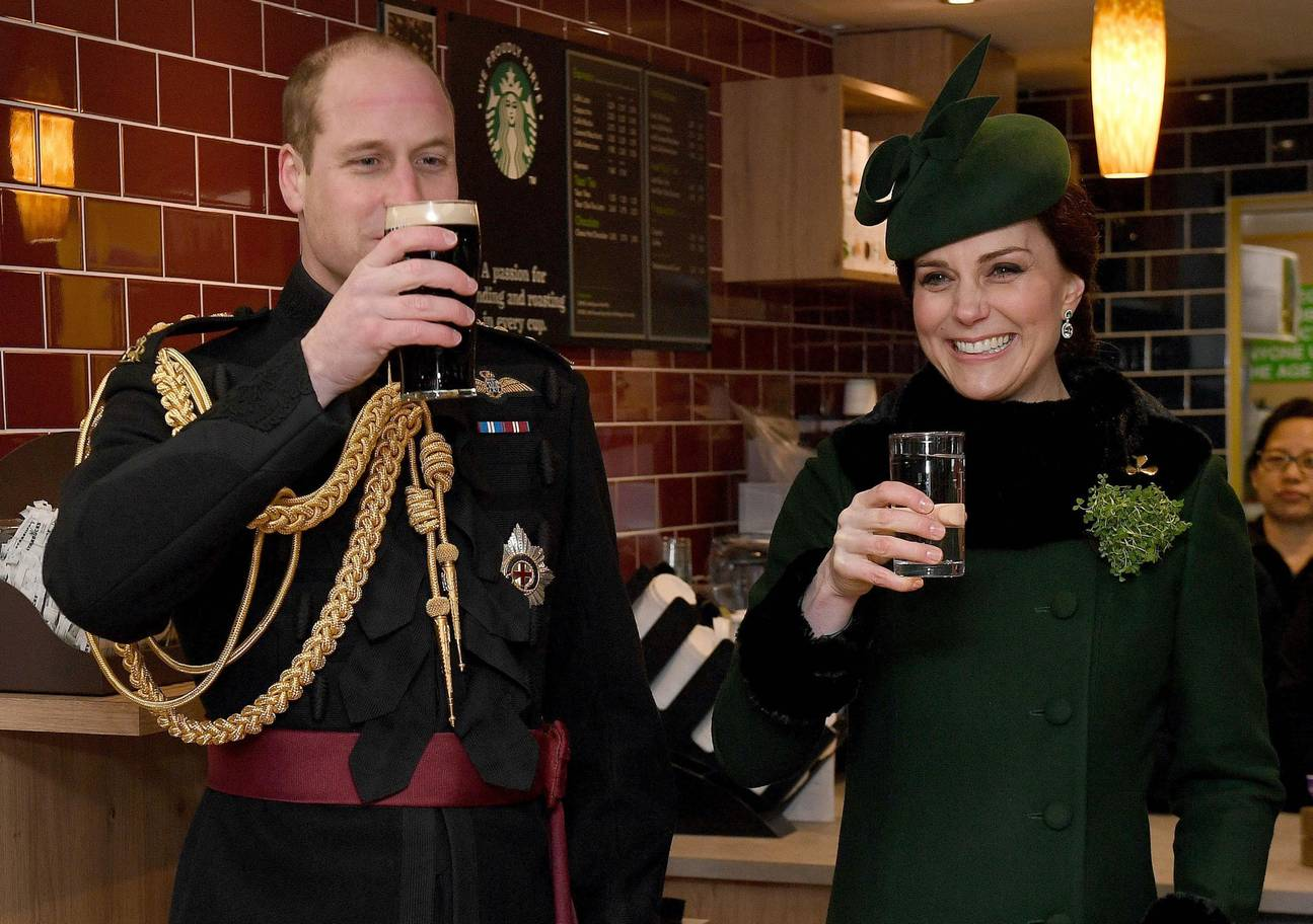 The Duke and Duchess of Cambridge sample Guinness at the St Patrick's Day Parade in Hounslow 2018. Image: PA Archive/PA Images