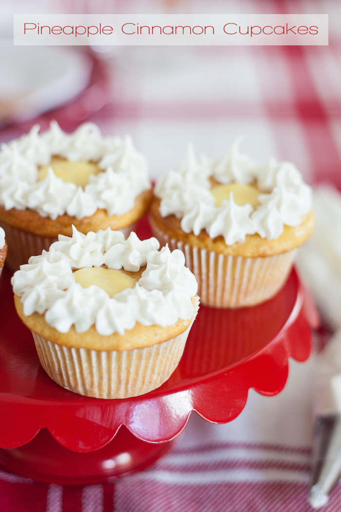 Pineapple Cinnamon Cupcakes | These are made with a boxed yellow caked mix and several other yummy ingredients, including 100% DOLE® Canned Pineapple Juice.