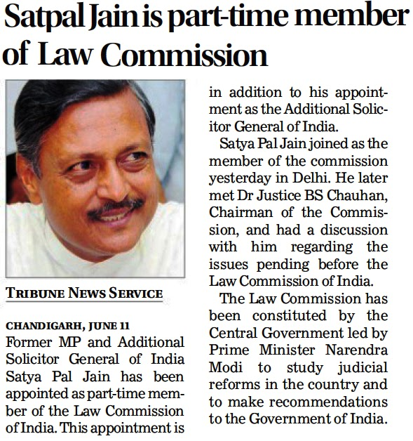 Satya Pal Jain is part-time member of Law Commission