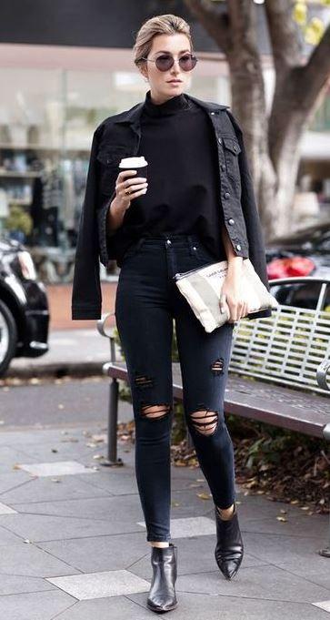 grunge look inspiratiom / boots + rips + top + black denim jacket