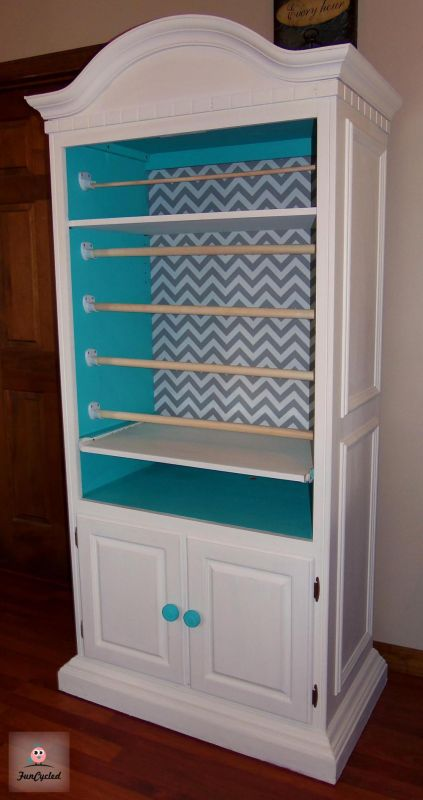 "6. A Wrapping Station for a DIY Queen: This gorgeous piece of furniture started out as a ""blah"" armoire. Now it's ready to be used as a gorgeous wrapping paper station. If you're handy and looking to save some money, this is the perfect option for you."