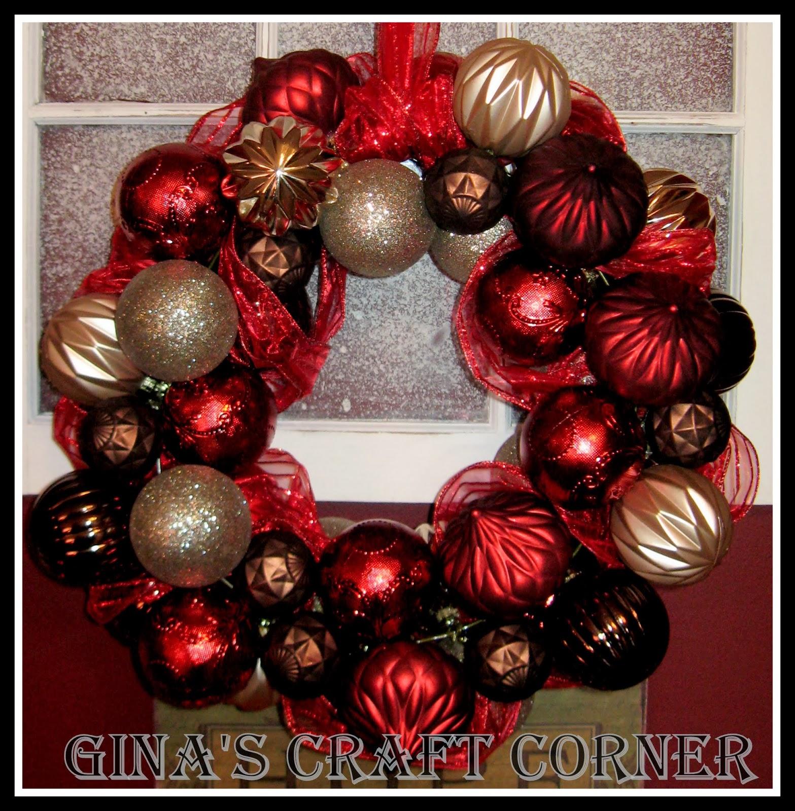 How To Make A Christmas Ball Wreath W Coat Hanger Gina S Craft Corner