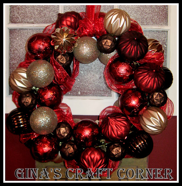 How to Make a Christmas Ball Wreath w/ a Coat Hanger-Gina's Craft Corner