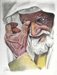 رسم زيتي رجل كبير بالسن