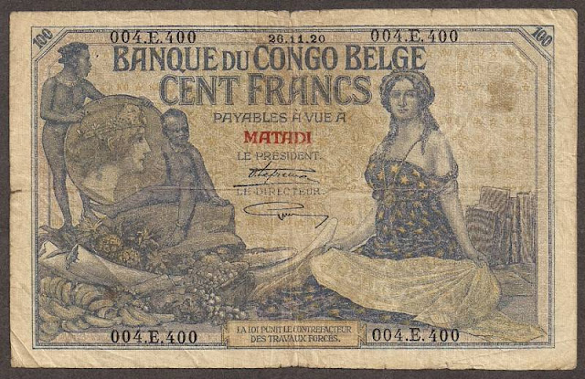 Belgian Congo currency 100 Francs banknote collection