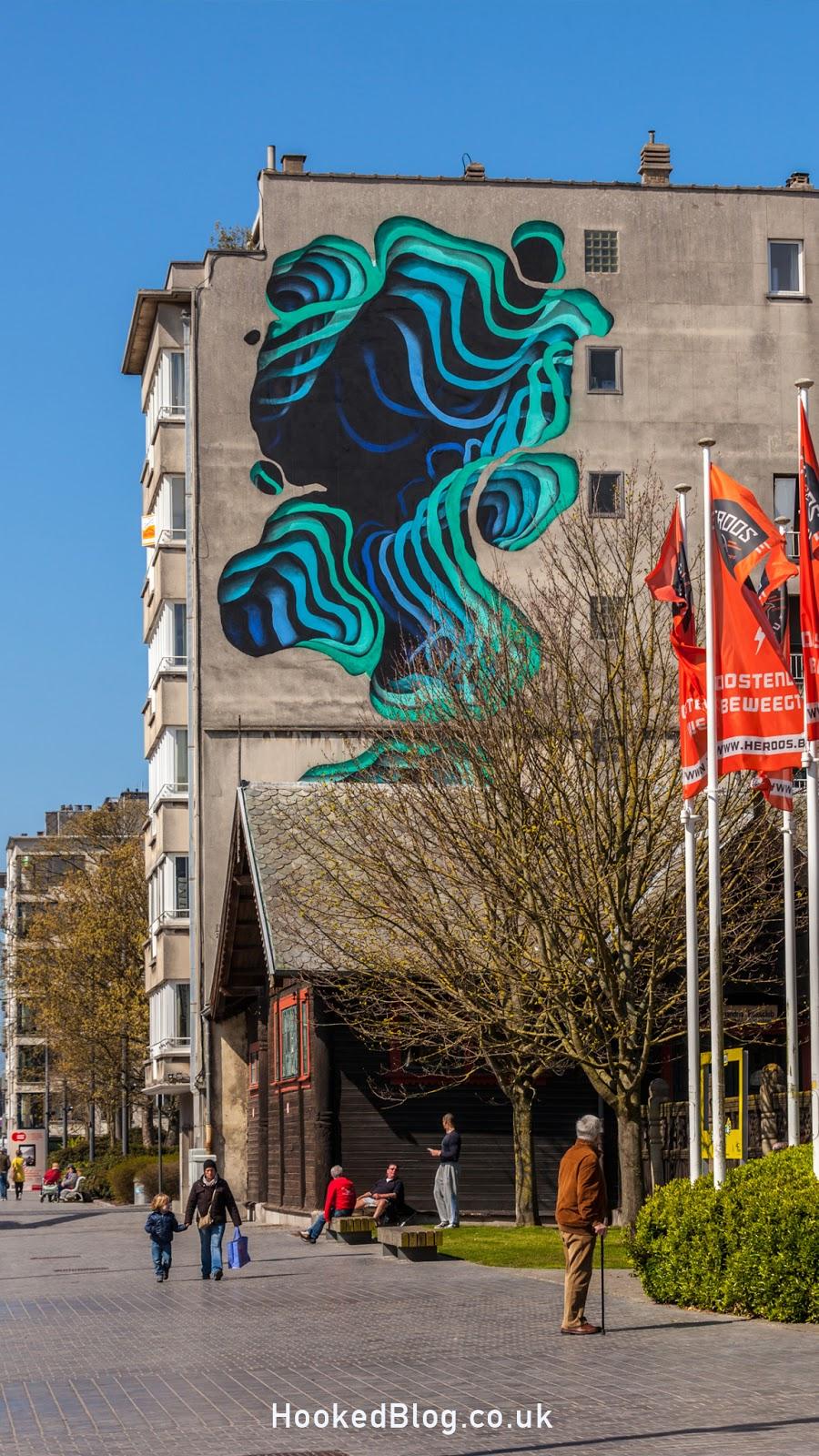 Street Artist 1010 large scale mural in Ostend, Belgium. Photo ©Hookedblog