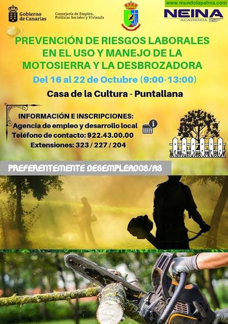 Prevención de riesgos laborales en el uso y manejo de motosierra y desbrozadora en Puntallana