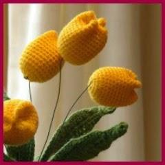 Ramo de tulipanes a crochet