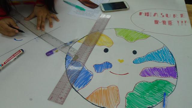 Dùng thước kẻ một đường thẳng qua các điểm bóng đổ lúc nãy, rồi kẻ một đường vuông góc từ tâm tới đường thẳng vừa kẻ. Ta lấy thời gian của điểm đổ bóng có đường vuông góc kẻ vào,