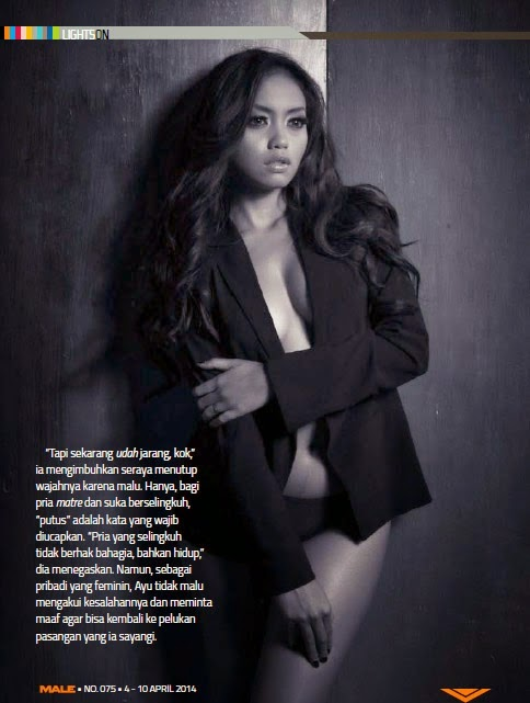Ayu Ditha Black Lingerie Pose for Male Magazine April 2014