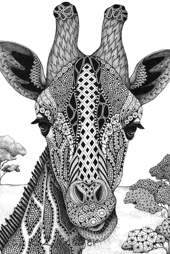 03-Giraffe-Kristin-Moger-Domestic-and-Wild-Zentangle-Animal-Portraits-www-designstack-co
