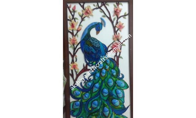 Peacock Glass Mural Painting