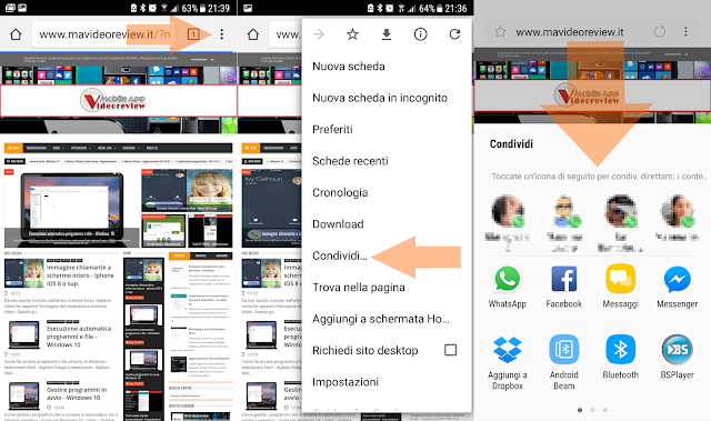 Android - Browser Chrome - Condividi link
