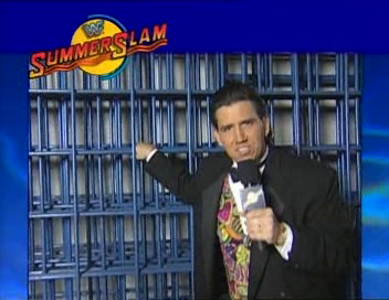 WWF / WWE - Summerslam 1994 - Todd Pettengill shows us the steel cage that will be used in tonight's event