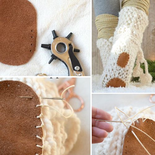 How to add soles to knit or crochet slippers