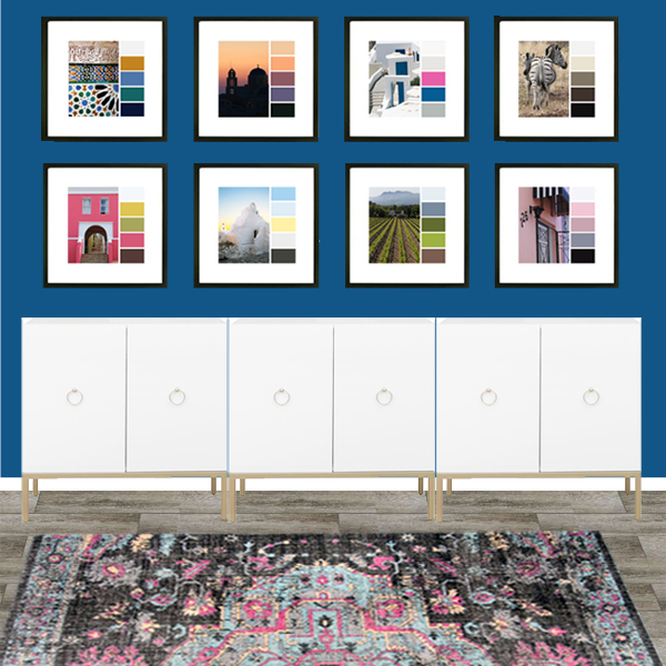 travel photo color palette gallery wall