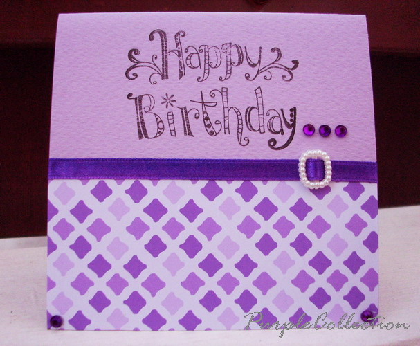 Square Birthday Cards, pattern, purple