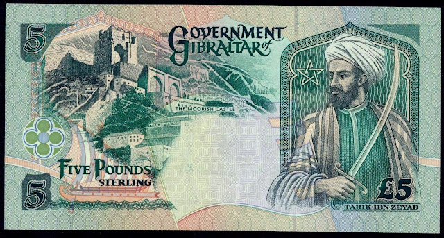 Gibraltar money currency 5 Pounds banknote 1995 Muslim general Tariq ibn Ziyad