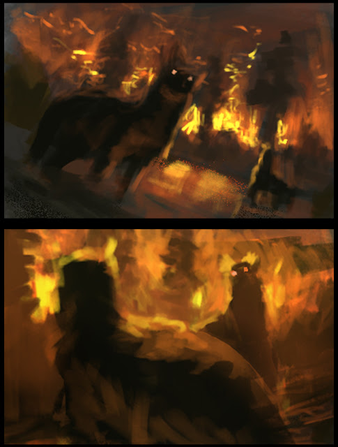 illustration, fantasyart, art, douglas deri, deri,creature design,paint,photoshop,sketchbook,wip, fire, forest, wolves