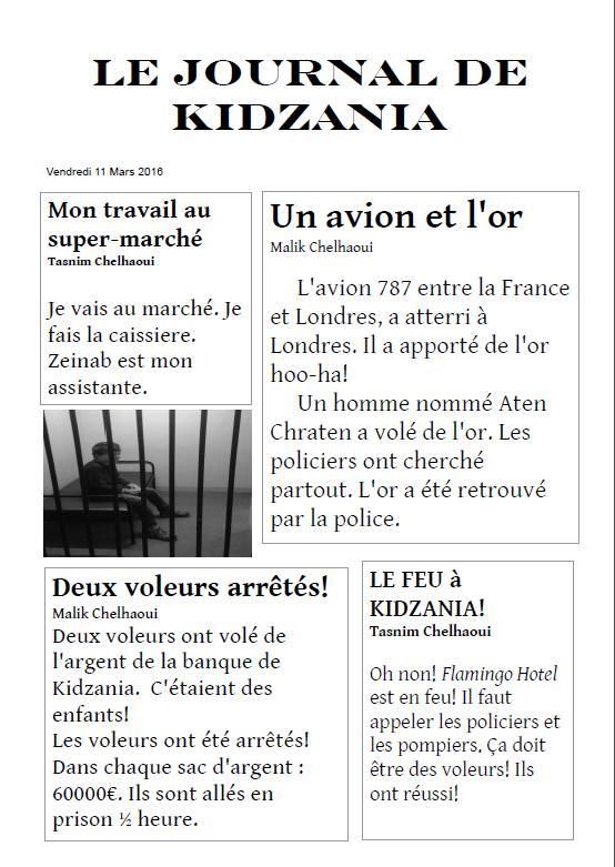 Cabrioles et cacahu tes le journal de kidzania - Le journal de francois ...