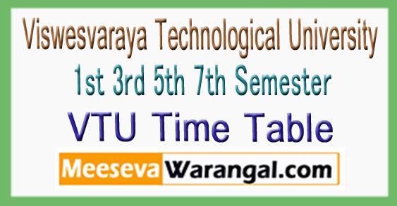 VTU Viswesvaraya Technological University 1st 3rd 5th 7th Semester Time Table 2017-18