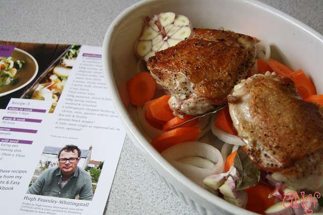 Chicken browned and ready to bake following Hugh Fearnley-Whittingstall's recipes on anyonita-nibbles.co.uk