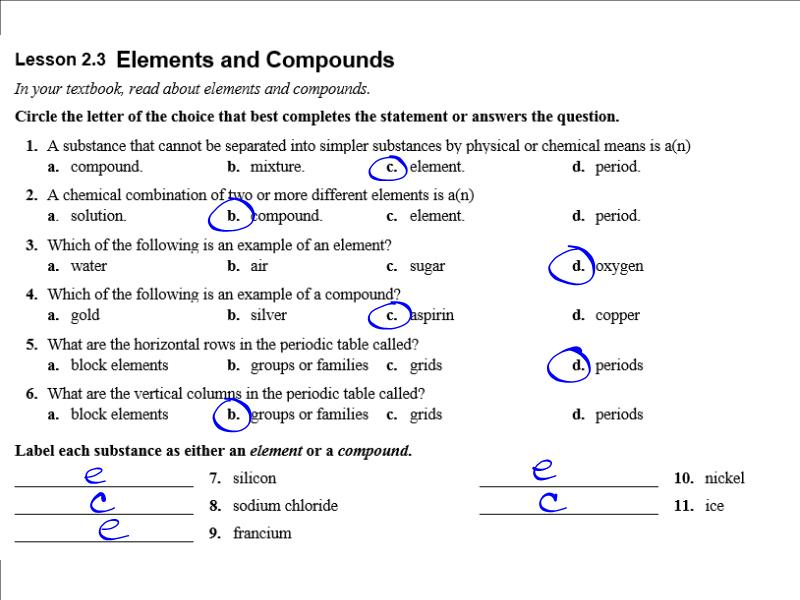 Chemistry: Ch 2 Study Guide Answers