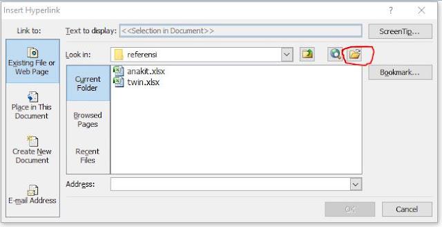 memasang menu link antar file di excel