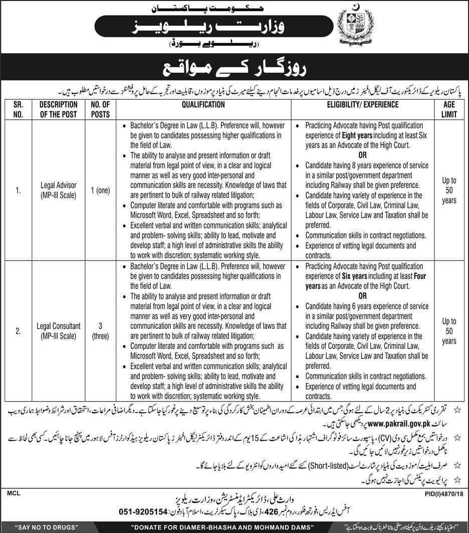 Advertisement for Pak Railway Jobs 2019