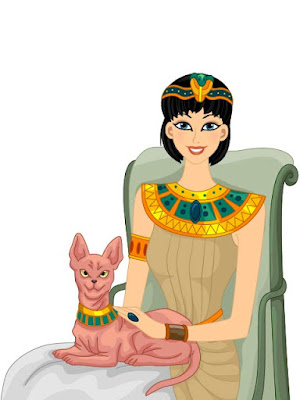 Illustration of Egyptian girl holding Sphynx cat