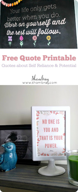 Free Quote Printable: Quotes about Self Reliance & Potential