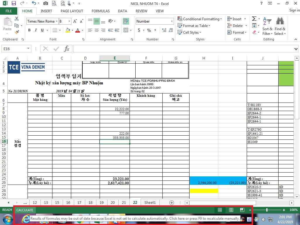L I Excel Formulas Not Working