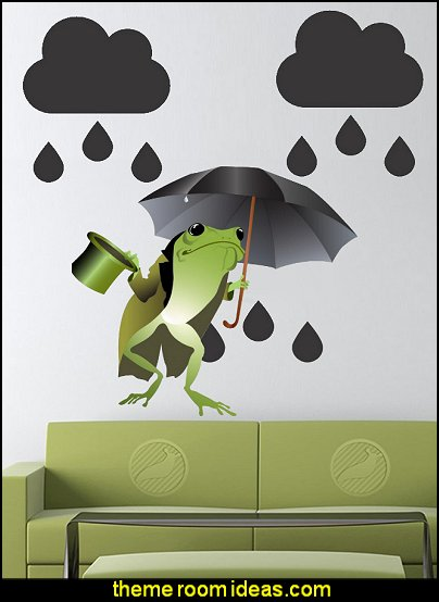 frog theme bedrooms - frog theme decor - frog themed gifts - froggy wallpaper murals - frog wall decals - frogs in a pond wall decor -  Frog Prince decor