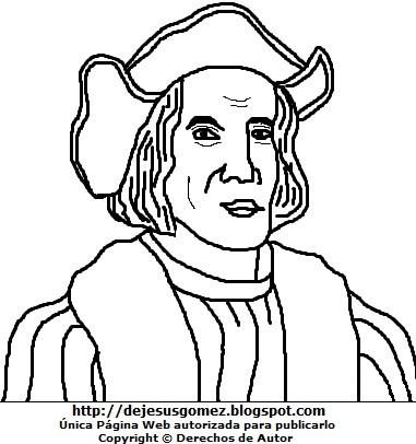 Dibujo de Cristobal Colón para colorear pintar imprimir. Dibujo de Cristobal Colón hecho por Jesus Gómez