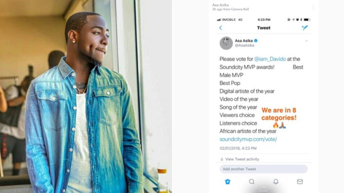AMAZING : Davido Gets 8 Nominations In The Soundcity MVP Awards
