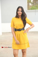 Actress Poojitha Stills in Yellow Short Dress at Darshakudu Movie Teaser Launch .COM 0030.JPG