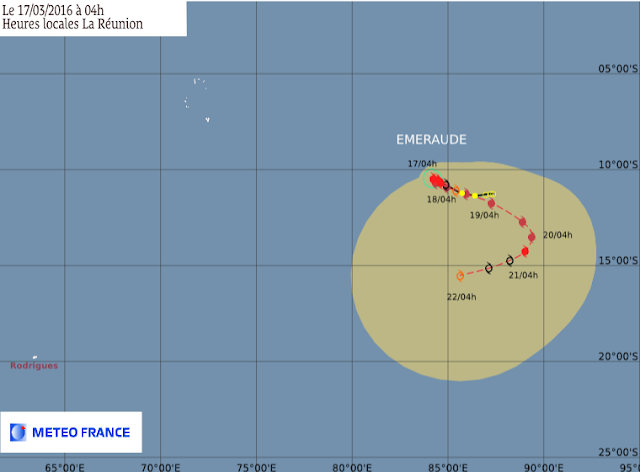 Prévision trajectoire et intensité du cyclone tropical Emeraude