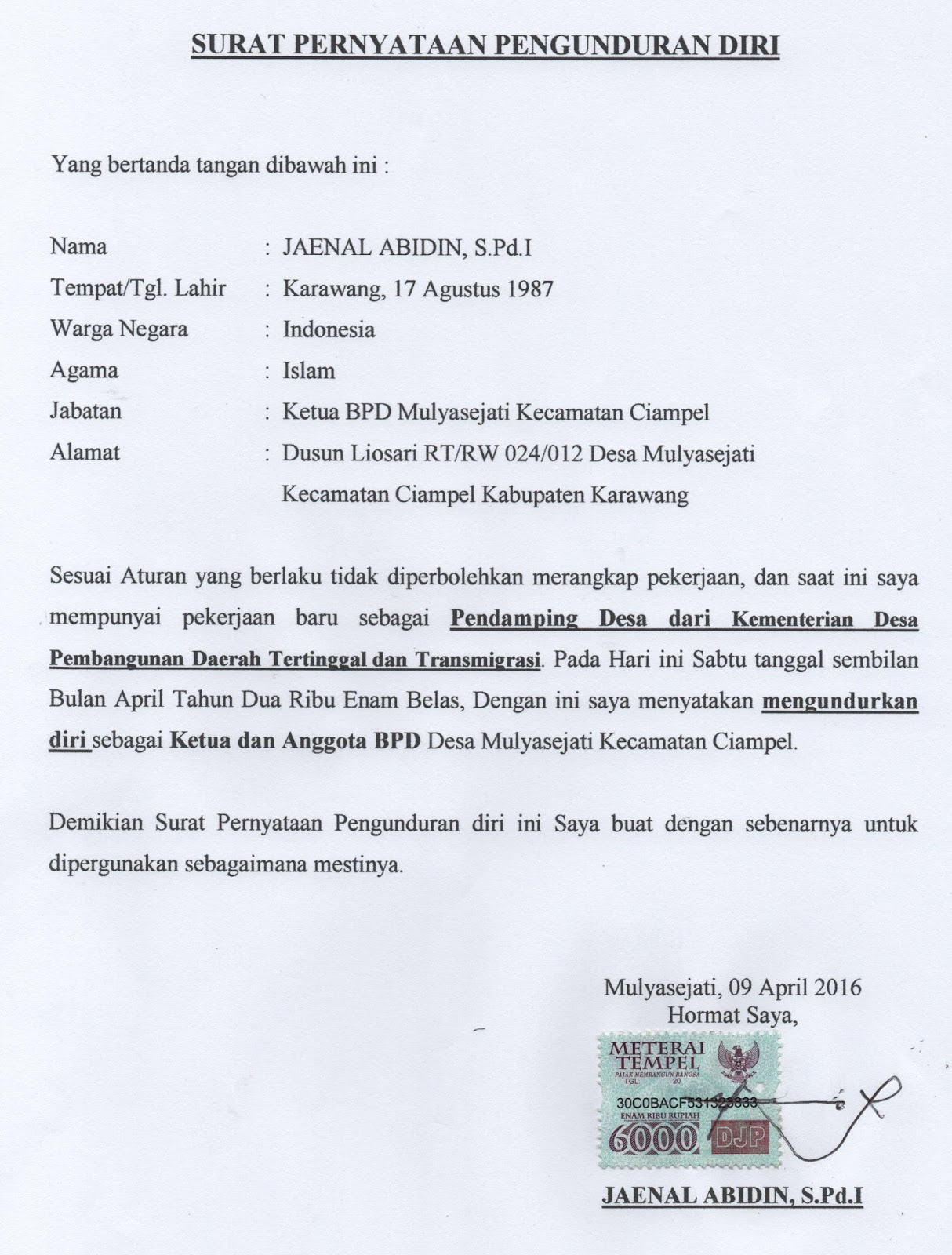 Contoh Surat Pengunduran Diri Dari Anggota Bpd